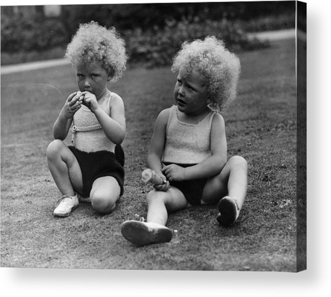 Toddler Acrylic Print featuring the photograph Curly Twins by Fox Photos