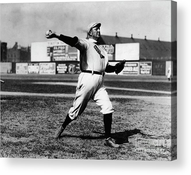 People Acrylic Print featuring the photograph Cy Young Boston Wind Up by Transcendental Graphics