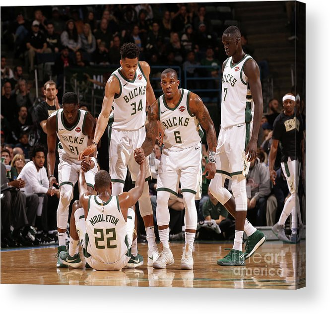 Assistance Acrylic Print featuring the photograph Denver Nuggets V Milwaukee Bucks by Nba Photos