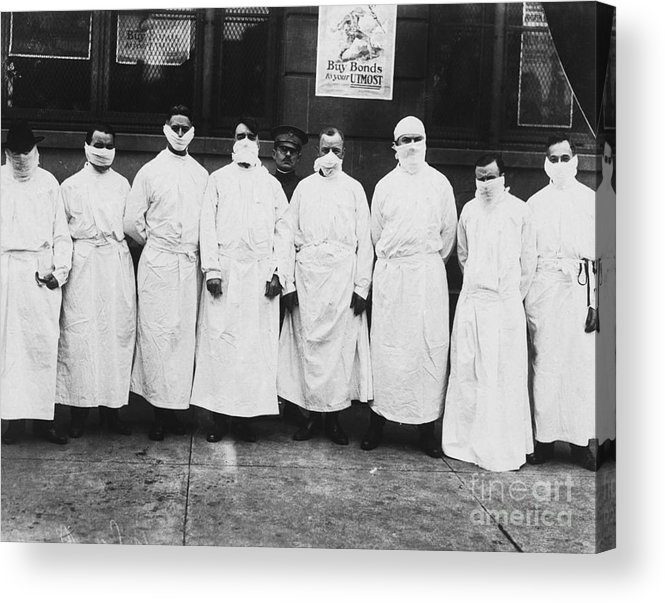 Protective Face Mask Acrylic Print featuring the photograph Doctors Wear Surgical Gowns And Masks by Bettmann