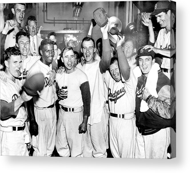 Horizontal Acrylic Print featuring the photograph Dodgers Celebrate In The Clubhouse by New York Daily News Archive