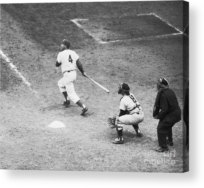 People Acrylic Print featuring the photograph Duke Snider Batting At Home Plate by Bettmann