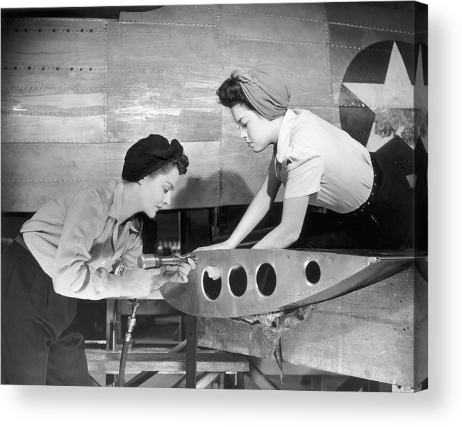 Working Acrylic Print featuring the photograph Female Workers Working On Plane by George Marks