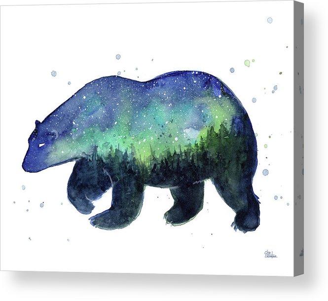 Galaxy Acrylic Print featuring the painting Forest Bear Galaxy by Olga Shvartsur