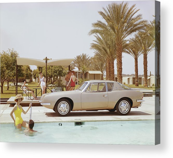 Three Quarter Length Acrylic Print featuring the photograph Friends Having Fun Near Pool by Tom Kelley Archive