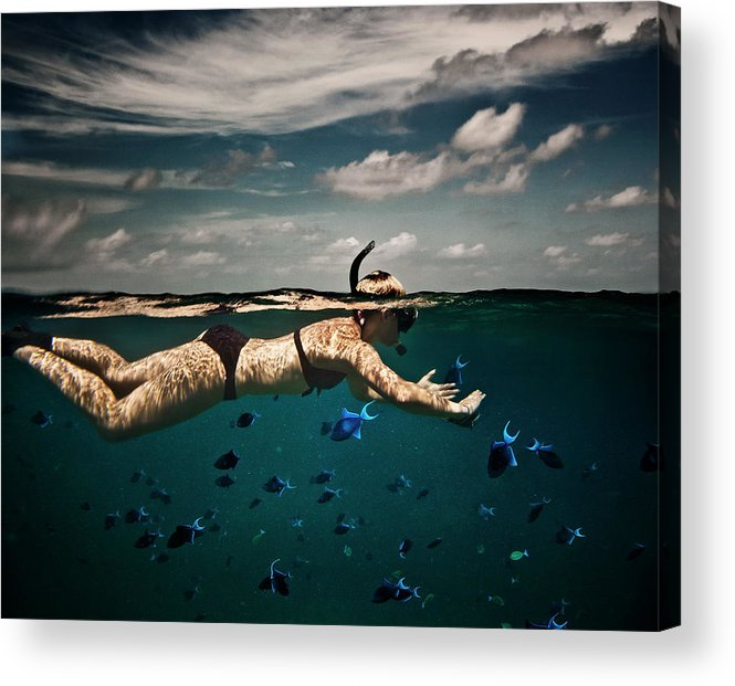 People Acrylic Print featuring the photograph Girl Snorkelling In Indian Ocean by Rjw