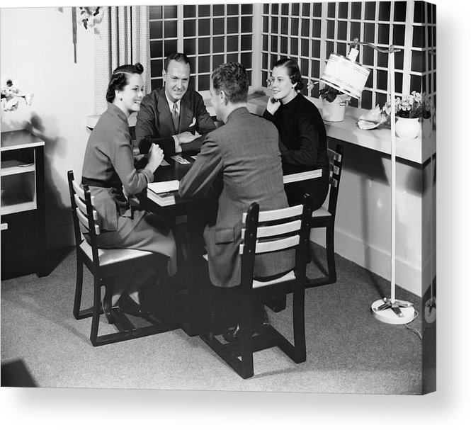 Heterosexual Couple Acrylic Print featuring the photograph Group At A Table by George Marks