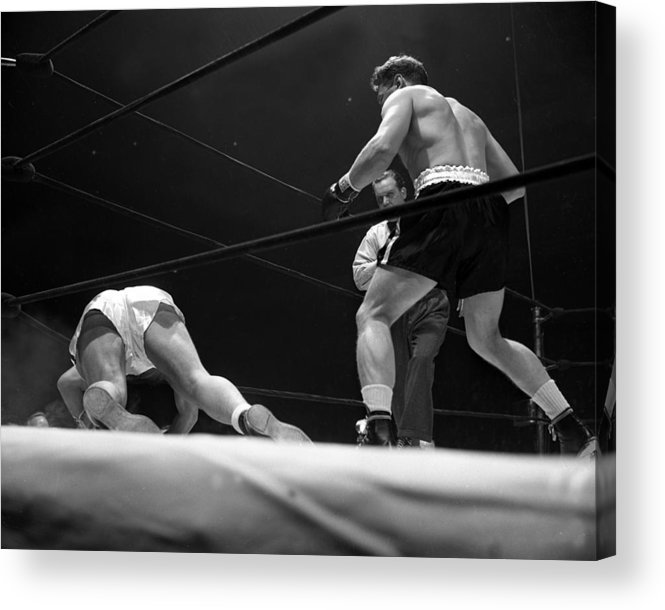 Heavyweight Acrylic Print featuring the photograph Gus Lesnevitch Vs Melio Bettina by New York Daily News
