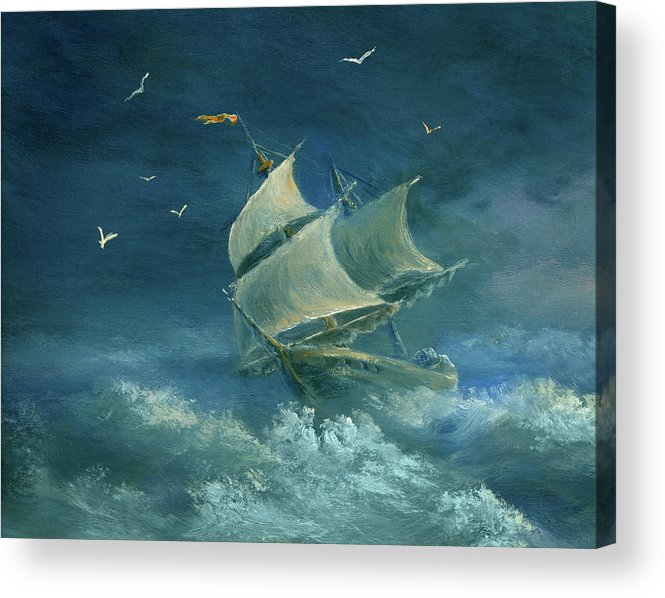 Image Acrylic Print featuring the digital art Heavy Gale by Pobytov