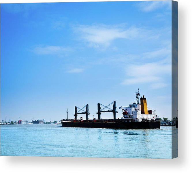 Freight Transportation Acrylic Print featuring the photograph Industrial Ship On Mississippi River by Lightkey