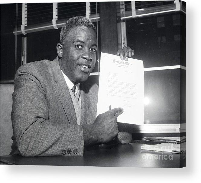 People Acrylic Print featuring the photograph Jackie Robinson Retires 1957 by Transcendental Graphics