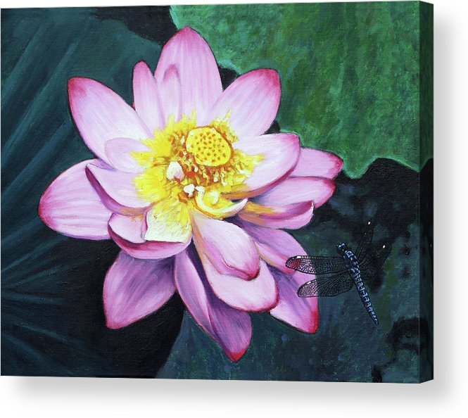 Lotus Acrylic Print featuring the painting Lotus With Dragonfly by John Lautermilch