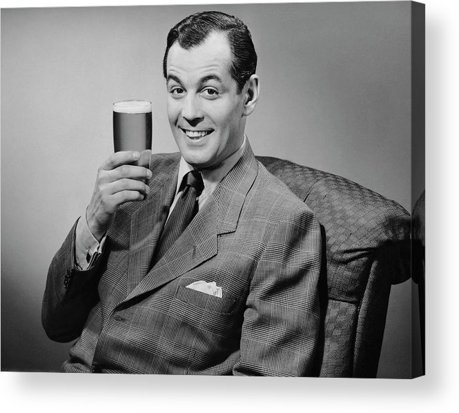 Mature Adult Acrylic Print featuring the photograph Man Sitting & Having A Beer by George Marks
