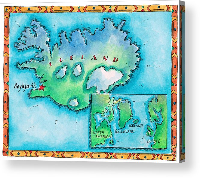 Watercolor Painting Acrylic Print featuring the digital art Map Of Iceland by Jennifer Thermes