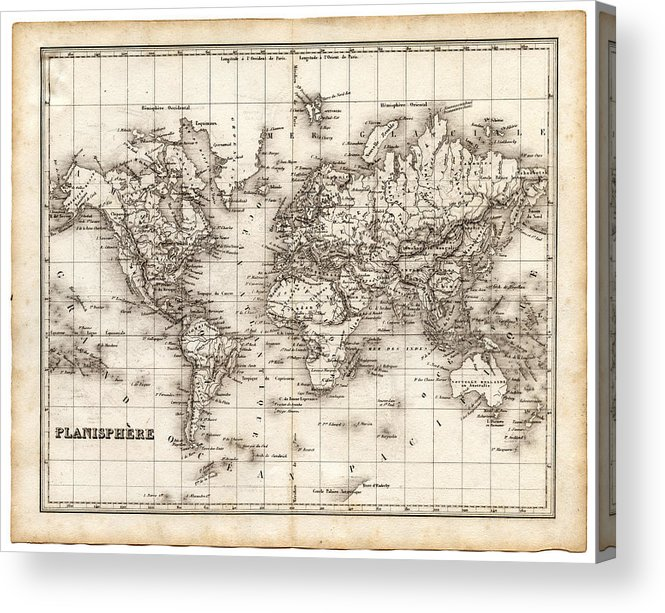 Oceania Acrylic Print featuring the digital art Map Of The World 1842 by Thepalmer