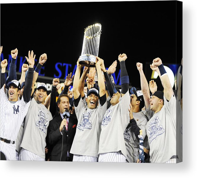 American League Baseball Acrylic Print featuring the photograph Mariano Rivera Holds Trophy As New York by New York Daily News Archive