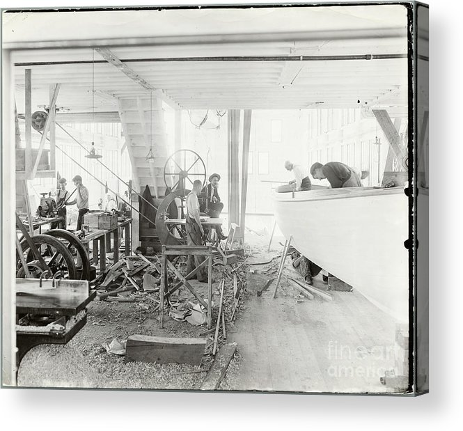 People Acrylic Print featuring the photograph Men Building Ships by Bettmann