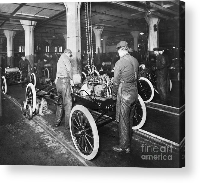 Working Acrylic Print featuring the photograph Model T Being Assembled In Ford Plant by Bettmann