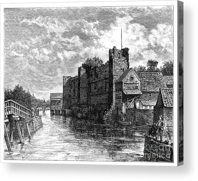 Nottinghamshire Acrylic Print featuring the drawing Newark Castle And The River Trent by Print Collector
