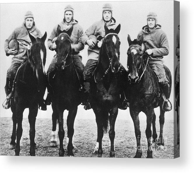 Horse Acrylic Print featuring the photograph Notre Dames Four Horsemen Of Football by Bettmann