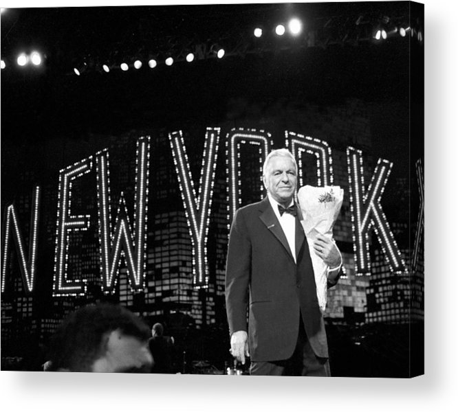 Following Acrylic Print featuring the photograph Ol Blue Eyes Frank Sinatra Clutches by New York Daily News Archive