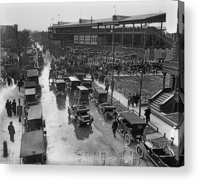 Outdoors Acrylic Print featuring the photograph Outside Wrigley Field by Chicago History Museum