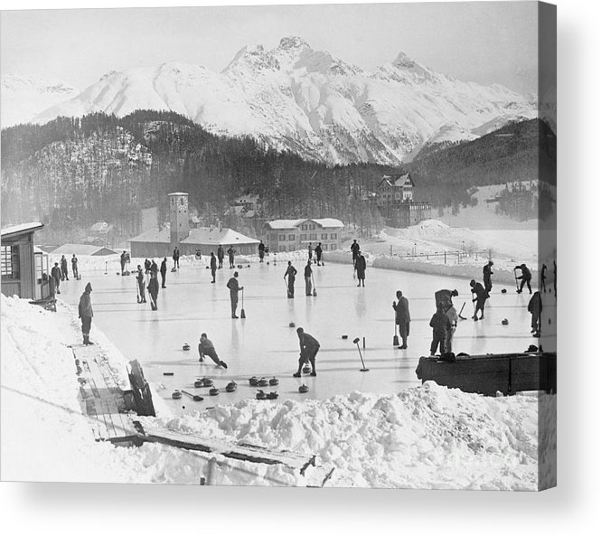 People Acrylic Print featuring the photograph People Enjoying Curling Rink by Bettmann