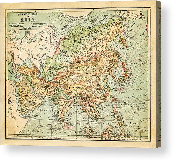 Burnt Acrylic Print featuring the digital art Physical Map Of Asia by Thepalmer