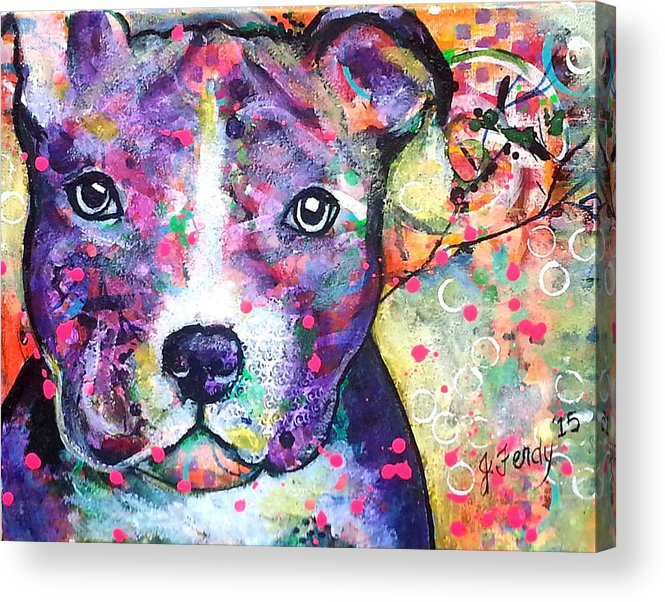 Pit Bull Acrylic Print featuring the painting Pit Bull by Goddess Rockstar