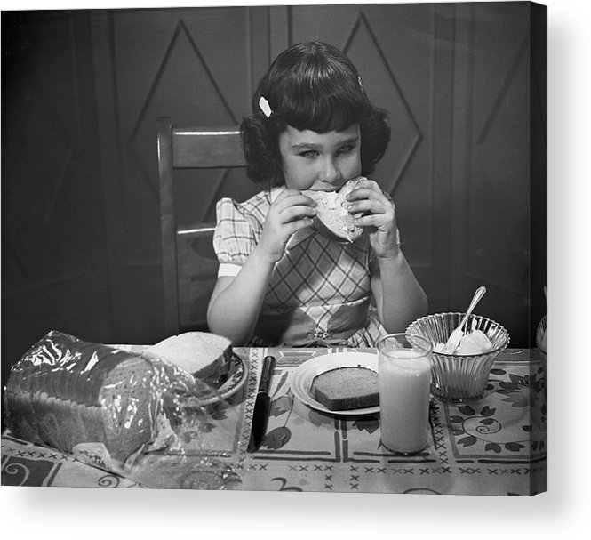 Milk Acrylic Print featuring the photograph Portrait Of Little Girl Eating Buttered by George Marks