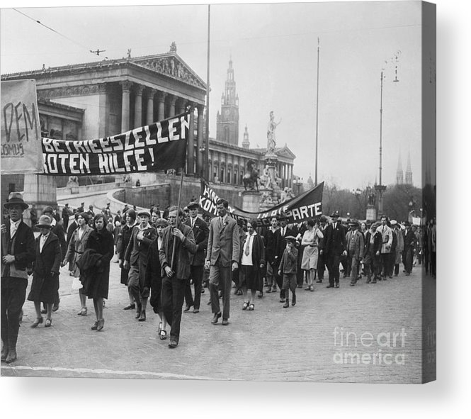People Acrylic Print featuring the photograph Processiondemonstration On May-day by Bettmann