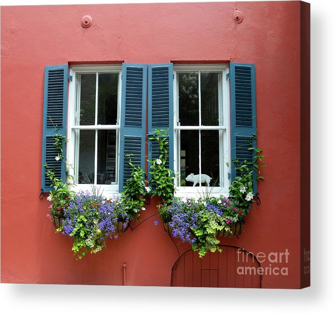 Shutter Acrylic Print featuring the photograph Red Wall With Windows, Charleston by Mark Swick