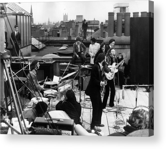 Rock Music Acrylic Print featuring the photograph Rooftop Beatles by Express
