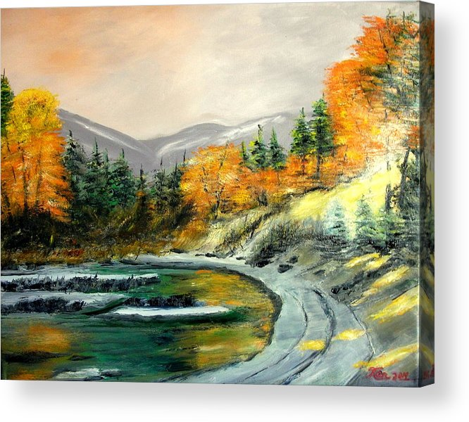 Round Acrylic Print featuring the painting Round Lake by Kenneth LePoidevin