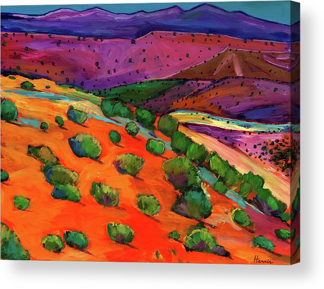 New Mexico Acrylic Print featuring the painting Sage Slopes by Johnathan Harris