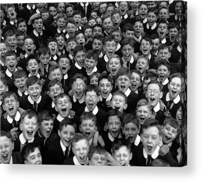 Crowd Acrylic Print featuring the photograph Schoolboys Cheer by Fox Photos