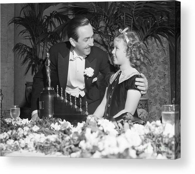 Child Acrylic Print featuring the photograph Shirley Temple And Walt Disney by Bettmann