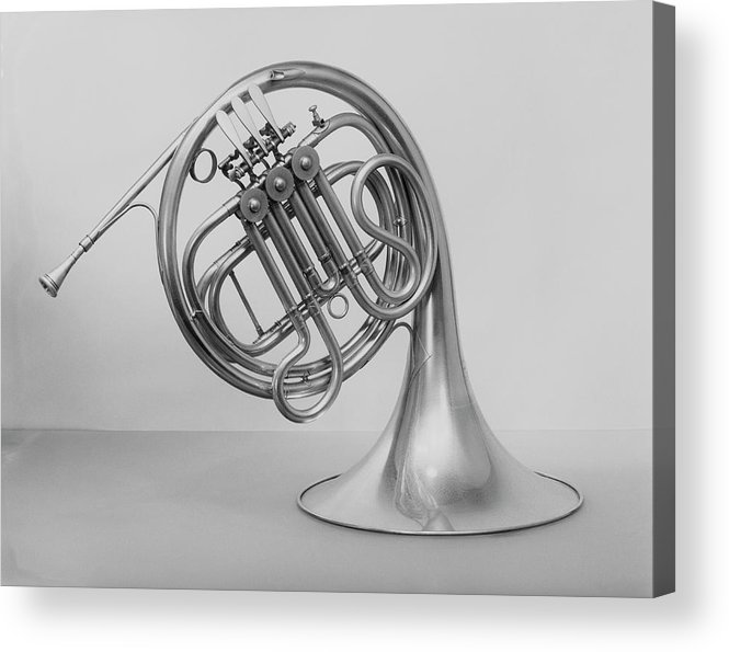 White Background Acrylic Print featuring the photograph Studio Shot Of French Horn by George Marks