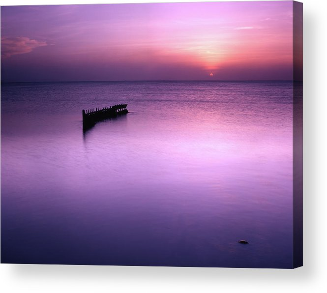 Trinidad Acrylic Print featuring the photograph Sun Sets On A Sunken Boat by Trinidad Dreamscape