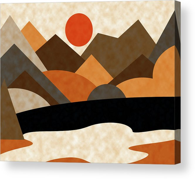 Ruth Palmer Acrylic Print featuring the digital art Tangerine Sun by Ruth Palmer