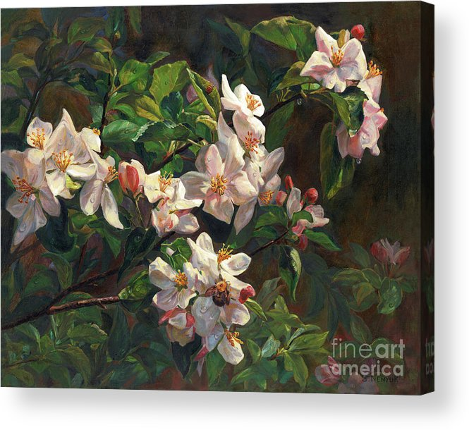 Flower Acrylic Print featuring the painting The Blossom Of Glamorous Spring by Svitozar Nenyuk