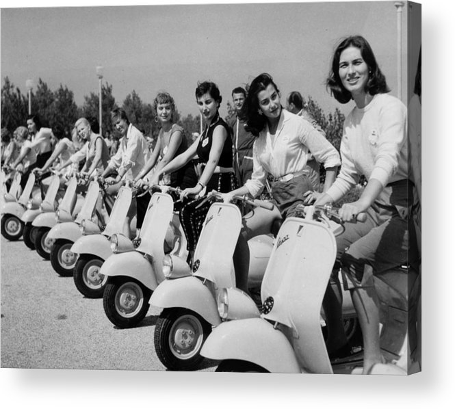 People Acrylic Print featuring the photograph Transport. Scooters. Pic Circa 1955. A by Popperfoto
