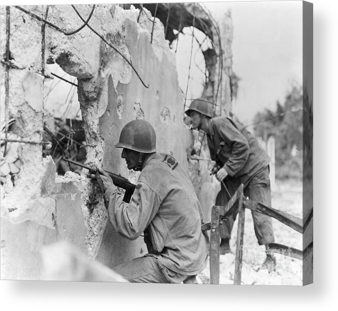 Rifle Acrylic Print featuring the photograph Two Soldiers With Rifles Behind Trees by Bettmann