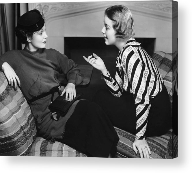 Three Quarter Length Acrylic Print featuring the photograph Two Women In Casual Conversation by George Marks