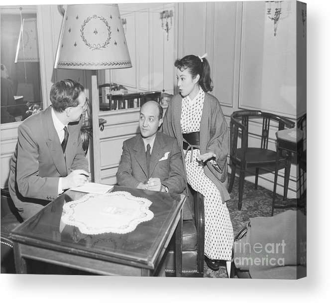Mid Adult Women Acrylic Print featuring the photograph Upi Journalist Interviewing Japanese by Bettmann