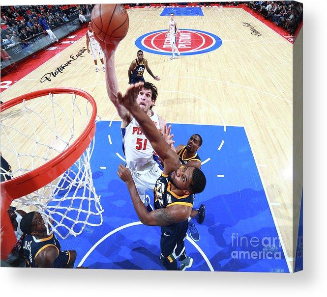 Nba Pro Basketball Acrylic Print featuring the photograph Utah Jazz V Detroit Pistons by Brian Sevald