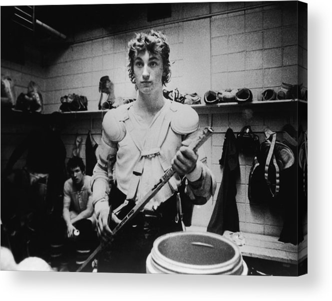 Following Acrylic Print featuring the photograph Wayne Gretzkys Last Wha Game by B Bennett