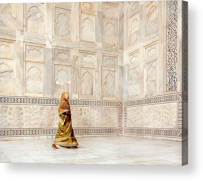 People Acrylic Print featuring the photograph Woman Walking Near Monument by Grant Faint