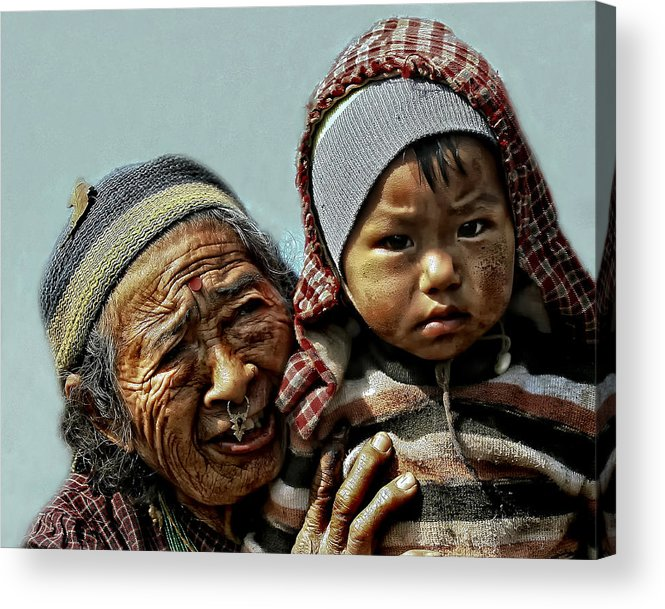 Nepal Acrylic Print featuring the photograph Women Of Nepal - Series by Yvette Depaepe