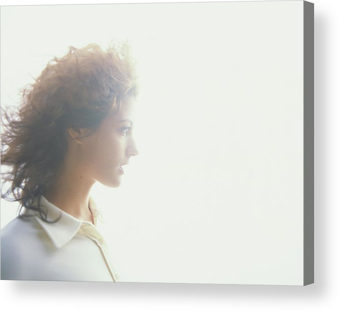 Beautiful Woman Acrylic Print featuring the photograph Young Woman, Profile Soft Focus by Thomas Barwick